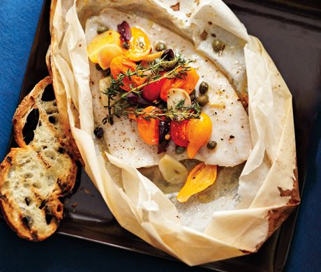 Sole en Papillote with Tomatoes and OlivesHealthy Meals, Reduce Weights, Olive Oil, Sole En, Healthy Fish Recipe, White Wine, En Papillote, Easy Weights, Weights Loss