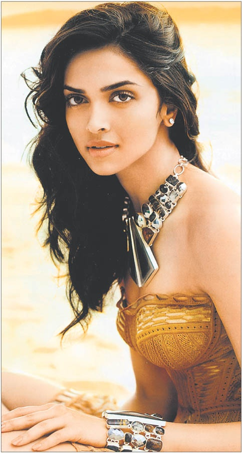 Deepika Padukone, wearing a Malaga Agate Necklace and matching cuff, Harer's Bazaar April 2009