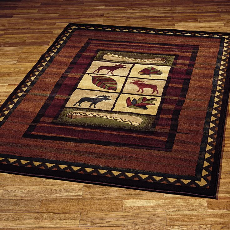 Colorful Highland Falls Area Rugs Are Perfect In A Cabin Lodge Or Entertainment Room Of Any Naturalist Picture Blocks Showcase Leaves Moose And Canoes