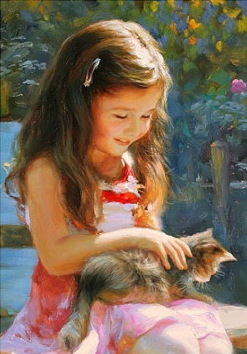 Картинки девочка и котик рисованные, открытки получение