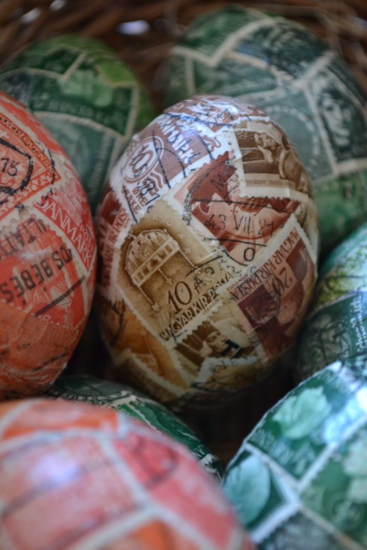 Vintage Stamp covered wooden eggs