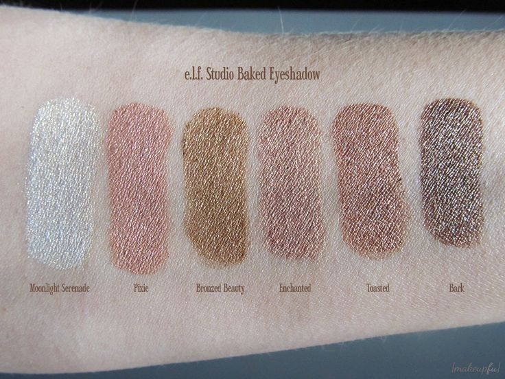 Elf Eyeshadow Swatches | Foiled swatches of the e.l.f. Studio Baked Eyeshadow under direct ...