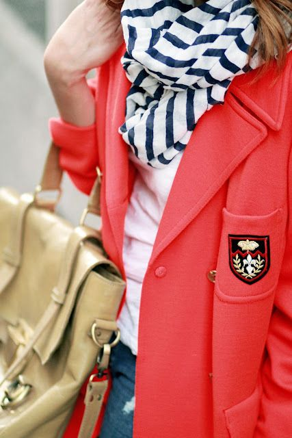 classy, collegiate and nautical.: Coral Blazers, Ears Spring, Preppy Style, Red Blazers, Color Combos, Scarfs, Preppy Fashion, Spring Outfit, Coats