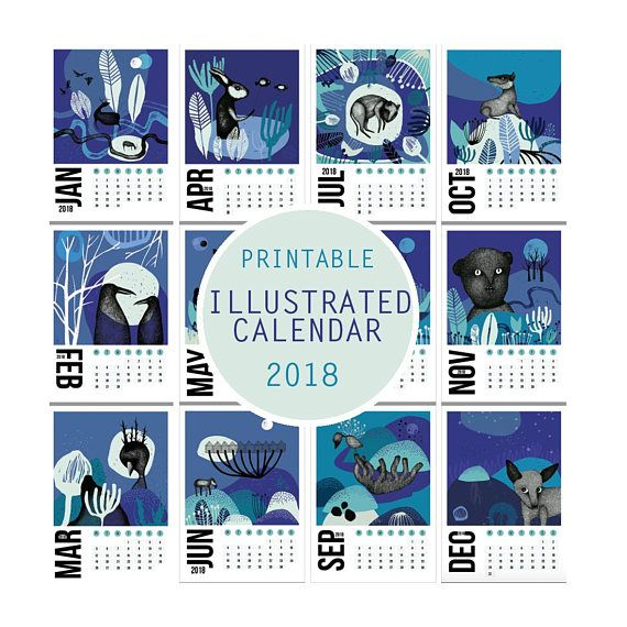 Check out this item in my Etsy shop https://www.etsy.com/listing/574193753/printable-illustrated-calendar-2018-a4