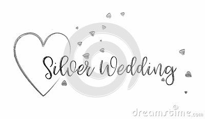 A simple, uncomplicated white Silver Wedding card or poster. The words `Silver Wedding` extend out from the centre of a silver heart. The design is finished with tiny silver confetti hearts running through, the hand writing  style of decorative text.