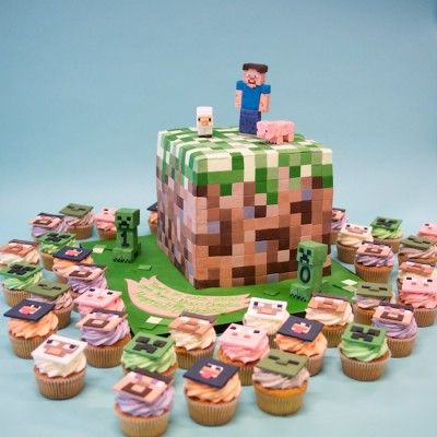 Minecraft cake and cupcakes.... my kids at school would go nutso for this. I don't understand it... does that make me old?