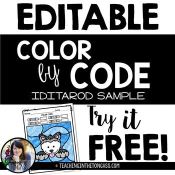 FREE Iditarod Coloring Page Color By Number Sight Word