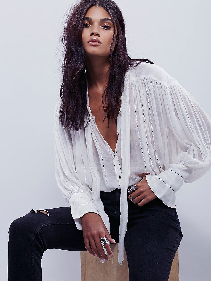 FP One Tie Front Blouse | Effortless and slouchy sheer buttondown blouse featuring an adjustable necktie and crochet stipes.  Flowy, oversized fit with a high low hem.