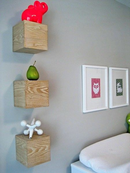 I love these wooden blocks used as shelves!