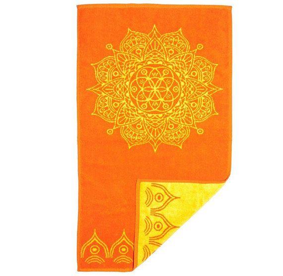 Orange Hand Towel with Yellow Mandala Design Decorated towels Bath accessories Bathroom art Orange bathroom