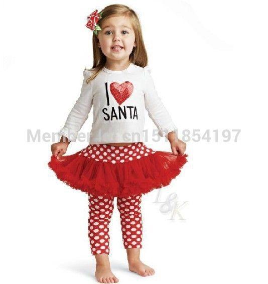2014 осень женской любви предновогодние ребенок 100% хлопок Футболки и красная точка юбка брюки мода набор новорожденных девочек рождество одежда костюм