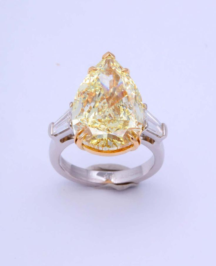 10 Carat Fancy Yellow Pear Shape Ring Gia Certified Em 2020 Aneis Joias