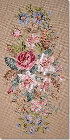Beverley Trammed Tapestry: Lillies Oval Longstool.