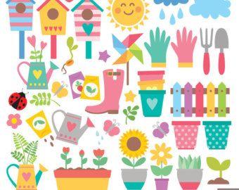 Flower clipart Garden clipart kawaii flower by LittleLiaGraphic