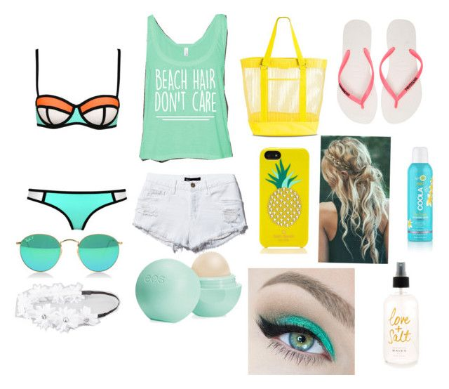 My beach outfit by gallegosrebekah on Polyvore featuring polyvore, fashion, style, Havaianas, Target, Kate Spade, Full Tilt, Eos and SwimSpot