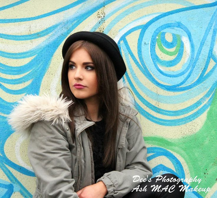 MAC Makeup shoot with a graffiti background, I love her bowler hat  <3   https://www.facebook.com/deesphotography  #photography #MAC #makeup #bowlerhat #lipstick #lips #eyes #parka #fur #model #grafitti