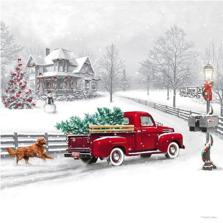 Truck Dog Christmas Snow Greeting Cards VintageMarketplaceGifts