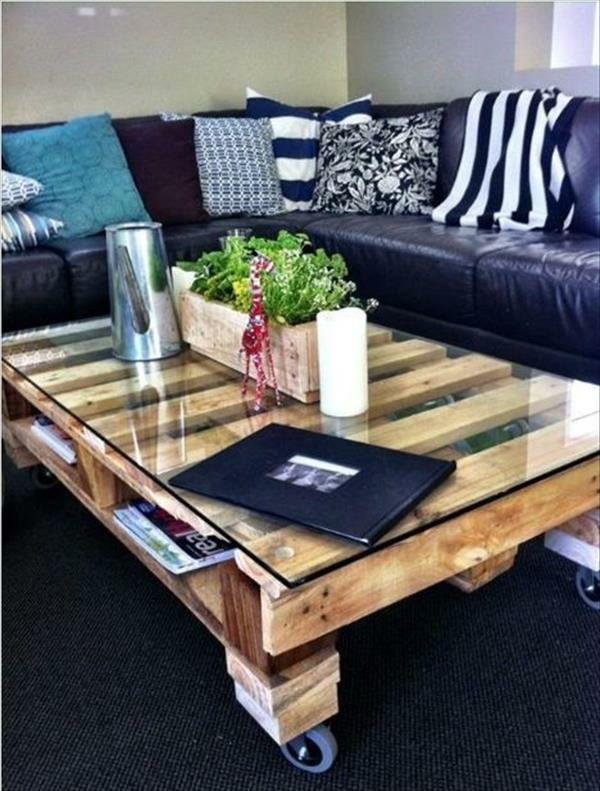 DIY Tische Aus Europaletten Couchtisch Wohnzimmer Schwarz Weiss