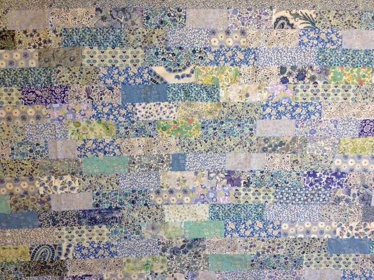 Liberty tana lawn scrap quilt in blues.