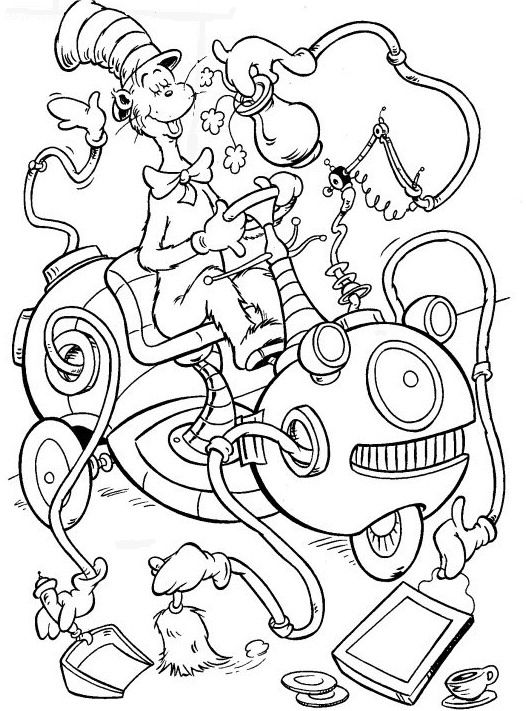 coloring page cat in the hat dr seuss