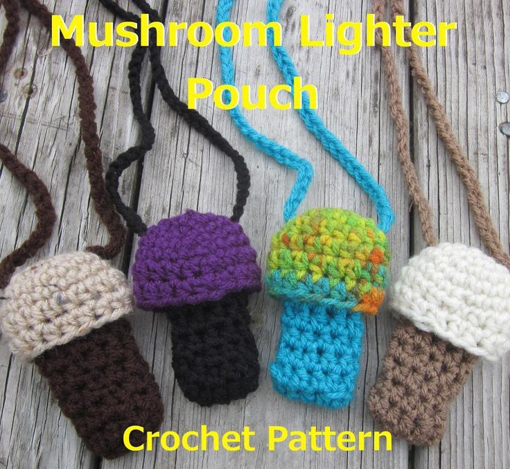 $1 DIY Crochet Lighter or Chapstick Holder Pattern Sell your finished items https://www.etsy.com/listing/207373463/crochet-pattern-mushroom-lighter-holder