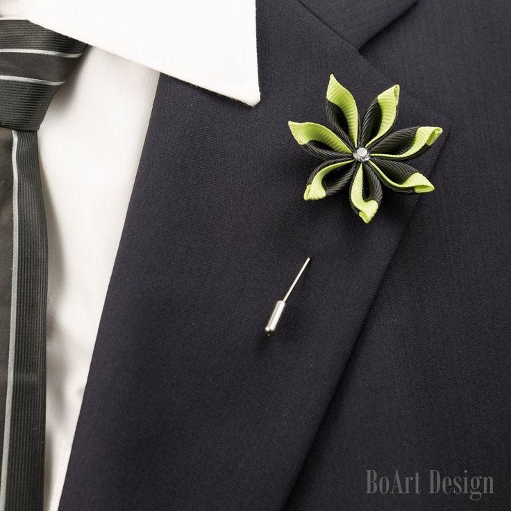 Black/Green Kanzashi Flower Lapel Pin with Swarovski Silver Night Crystal/Lapel Pin/Lapel Flower/Men Lapel Flower/Wedding Accessories/Brooch by BoArtDesign on Etsy