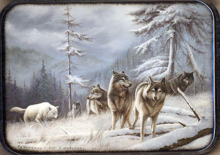 Wolves Fedoskino 2012 Shavirin Boris