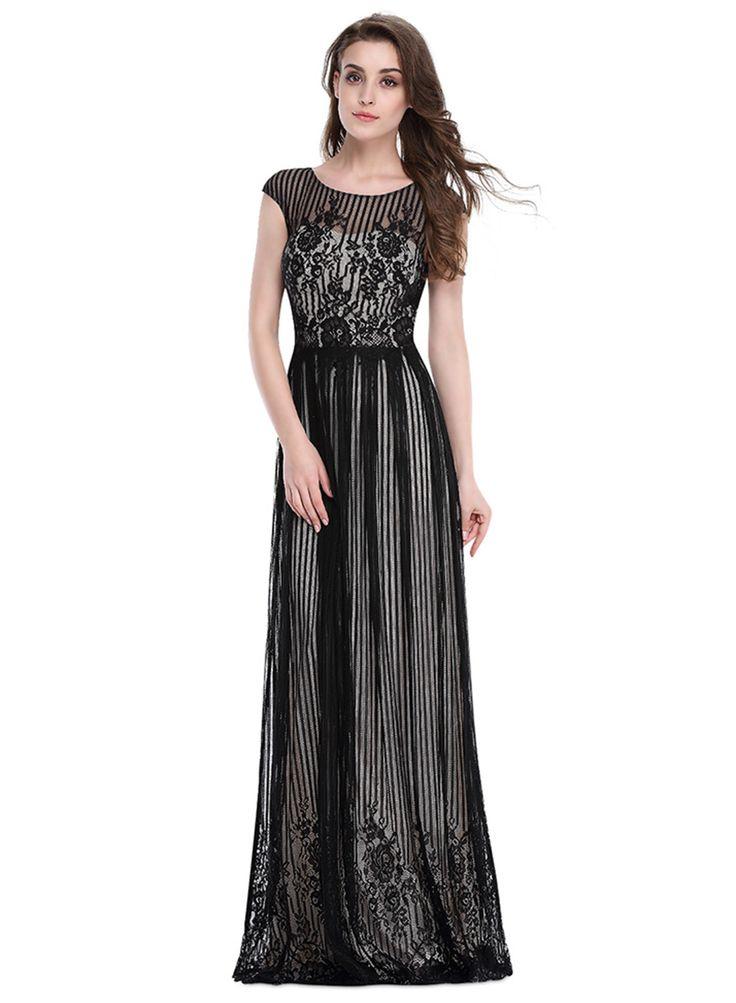 Women's Sheer Lace Crochet Prom Dress