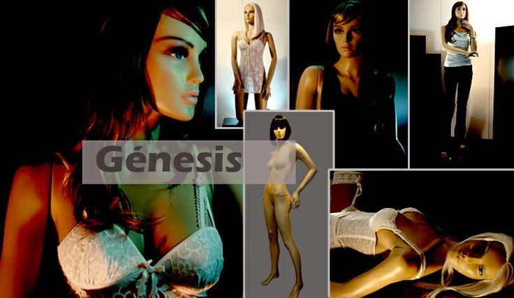 Génesis Mujer Maniquíes Reales de Mujer, con maquillaje en el rostro.