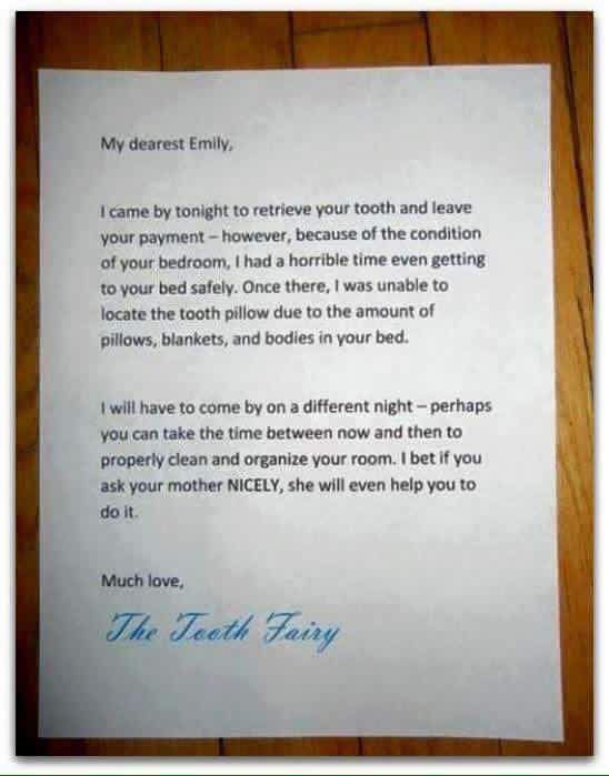 A Note From The Tooth Fairy Your Room Is Dirty I Could Not