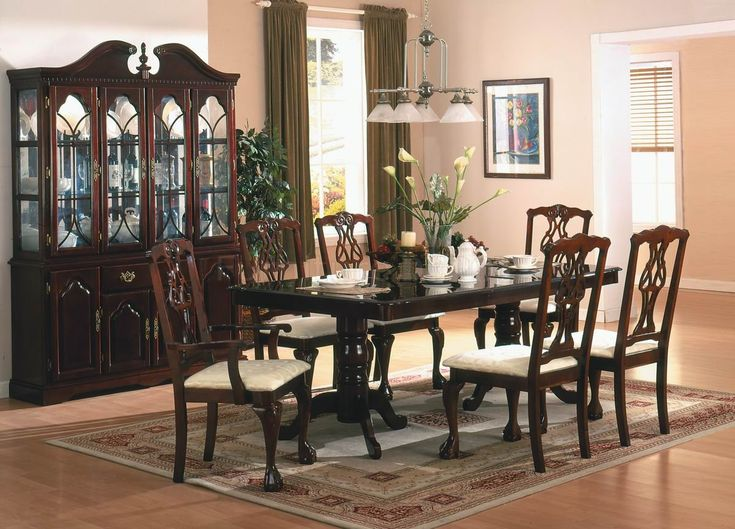 cherry dining room sets | Cherry Finish Classic 5Pc Dining Room Set w/Optional Items