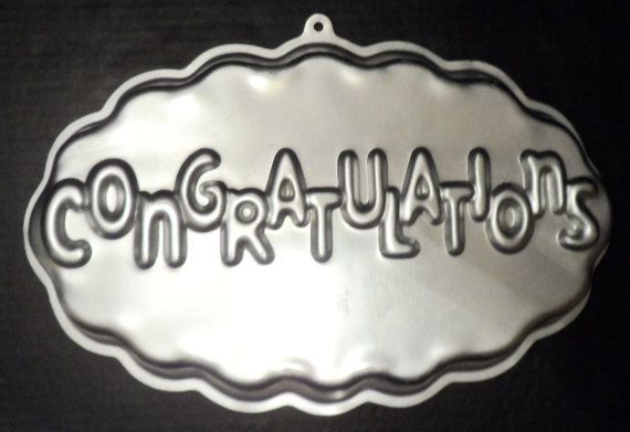 """$14.98/ Vintage 1986 Wilton Cake Pan """"Congratulations"""" ~great all occasion bakeware for graduation, wedding engagement, retirement or new job parties ~  https://www.etsy.com/shop/ShellysSweetFinds"""