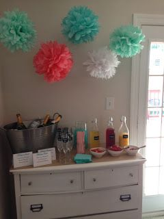 Coral, Mint, and Turquoise Bridal Brunch #bridalshower #poms