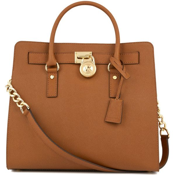 Womens Tote Bags Michael Kors Hamilton Tan Saffiano Leather Tote ($470) ❤ liked on Polyvore featuring bags, handbags, tote bags, purses, accessories, bolsas, tan, saffiano leather handbag, chain handle handbags and chain strap purse