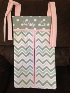 Pink Gray chevron  Diaper stacker holder girl by abusymother