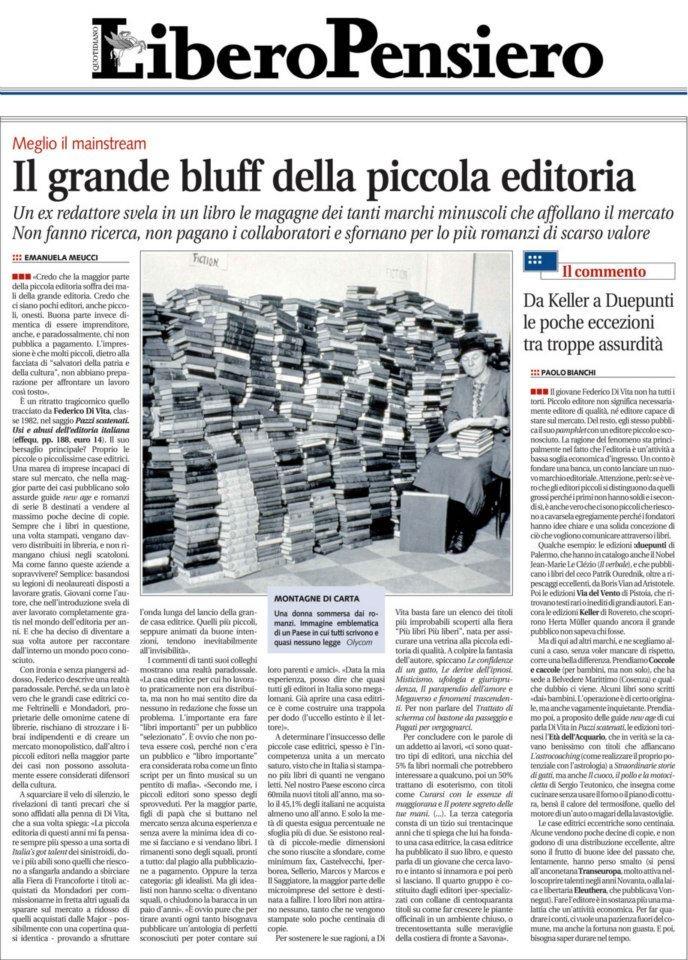 """Emanuela Meucci recenscisce la prima edizione di """"Pazzi scatenati"""" su «Libero» l'11 gennaio 2012."""