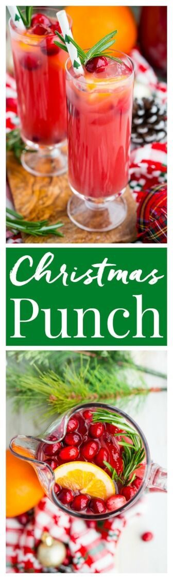 Christmas Punch (Boozy or Not) is an easy and delicious holiday party drink packed with fruits like cranberries, oranges, and pomegranates.  via @sugarandsoulco