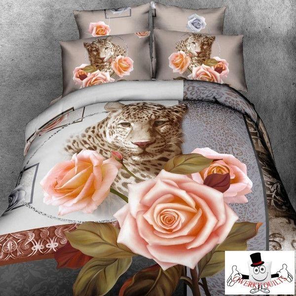 3D Orange Rose Leopard Bedding Set and Quilt Cover