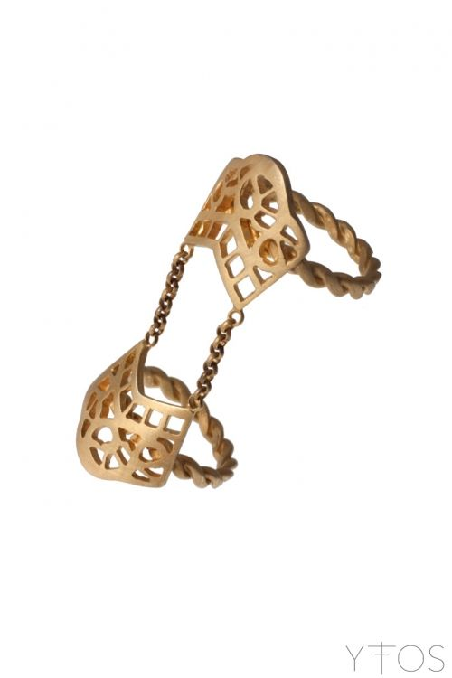 'Stigma' Gold Plated Silver Double Ring
