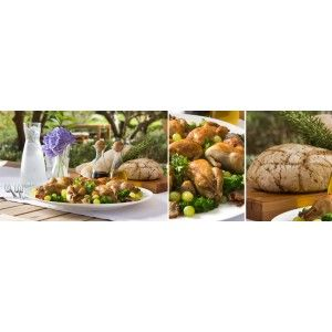 Whole Roasted Quail with Tenderstem Broccoli and Grapes, with Terra del Capo Sangiovese