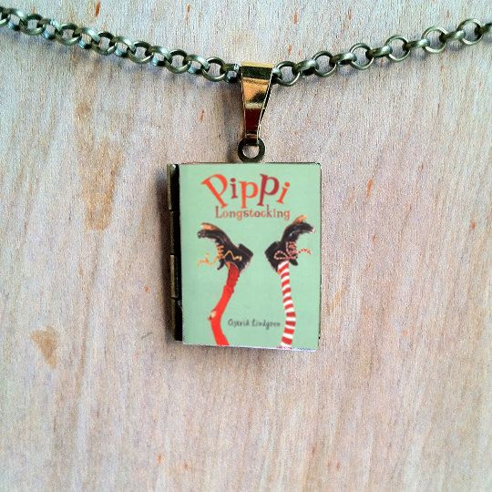 Pippi Longstocking - Astrid Lindgren - 2 cover choices - Literary Locket - Book Cover Locket Necklace