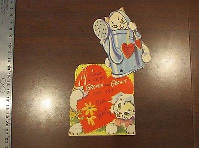1940s Mechanical Cat Kitten Take Care of My Heart Valentine Watering Can