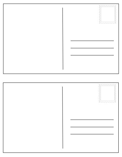 Post Card Templates - Use as a summative assessment or mini-project for ANY social studies unit! Write a letter, address it to a fictional or real person, design a stamp, and draw a picture on the back. Set of three different post cards