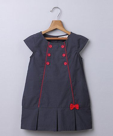 This Gray & Red Pleat Shift Dress - Infant, Toddler & Girls is perfect! #zulilyfinds