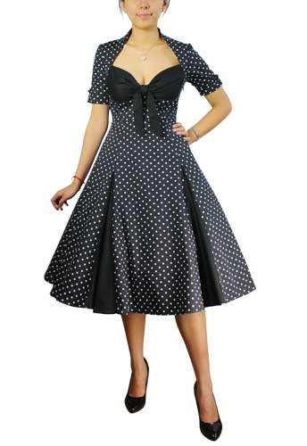 1950 dress patterns for plus sizes | Polka-dot/Black Retro Polka-Dot Swing Dress