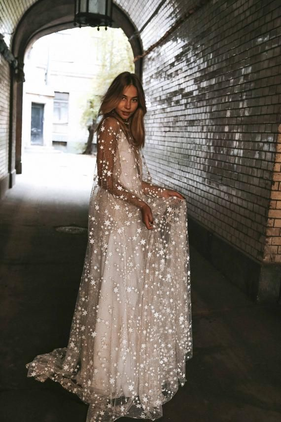Counting Stars Boho Wedding ceremony Gown by Growth Blush. Distinctive Classic Bohemian Backless Robe 2019 with Sleeves, Distinctive Lace and A Line Skirt