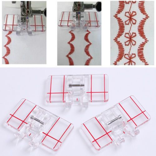 M/áquina de coser Prensatelas para pies accesorio de puntada transparente de pl/ástico Herramienta de puntada paralela