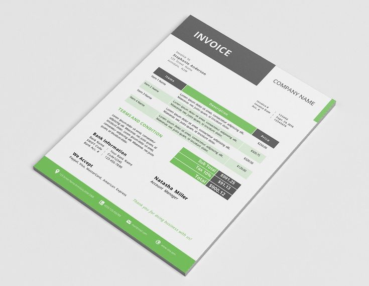 Modern corporate MS Word invoice by Inkpower on @creativemarket