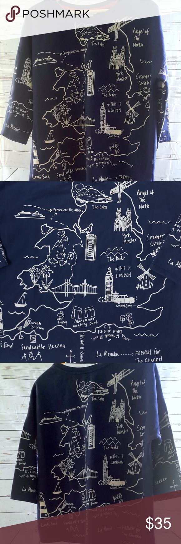 """Boden London destination landmarks navy sweatshirt Limited edition Boden London destination landmarks navy and white sweatshirt. 100% cotton 3/4 sleeve sweatshirt in excellent condition and very soft. Features popular destination spots in London...what a great sweatshirt.  Size 14 (US)  Measurements are approximate (laying flat): armpit to armpit: 25 1/2"""" shoulder to hem: 25 1/4"""" shoulder to cuff: 15""""  B5 Boden Tops Sweatshirts & Hoodies"""