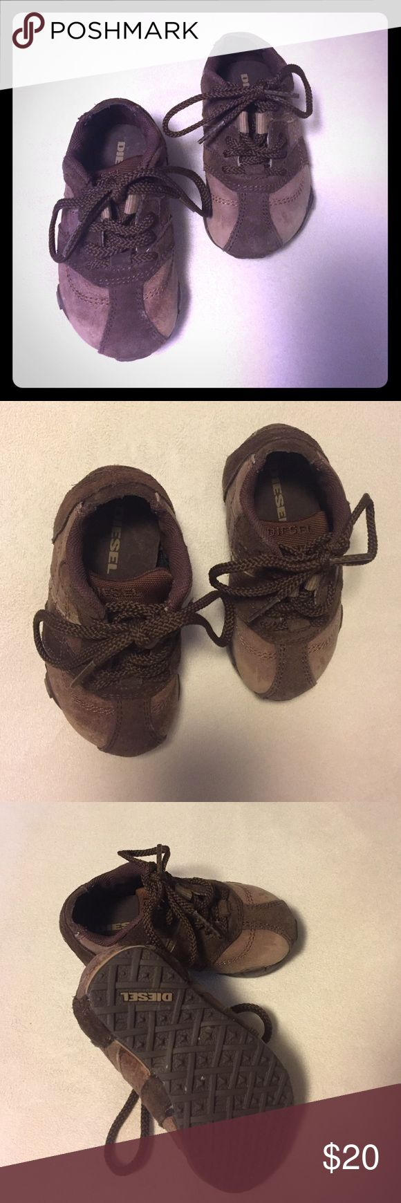 Baby boy Diesel shoes size US 5.5 EUC These super cute & stylish Diesel shoes for a little boy. They are size US 5.5 and in excellent condition. They are made out of brown suede & stressed brown leather! Smoke free & super clean home! Diesel Shoes Baby & Walker